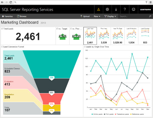 SQL server reporting services marketing dashboard